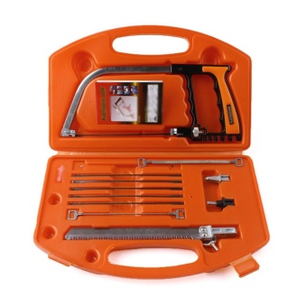11 In 1 Magic Bow Saw Hand Home Tools Kit Steel Glass Wood Working Cutting with Box Orange - intl