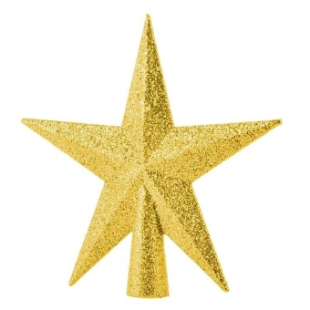 11cm Home Decor Ornament Five-pointed Star Christmas Tree Topper (Gold) by LuckyG - intl