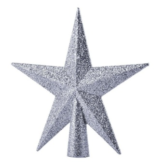 11cm Home Decor Ornament Five-pointed Star Christmas Tree Topper(Silver) - intl