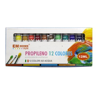 12 Assorted Propileno Acrylic Painting Colors 12ml