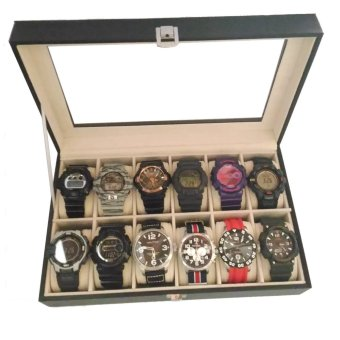 12-Compartment Big Watches Watch Box Organizer Black ( can fit G- Shock )