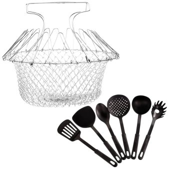 12-in-1 Magic Kitchen Chef Basket Colander With Heat ResistancePlastic Ladle 6-piece set (Black)