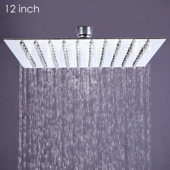 12 inch Ultra-thin Square Stainless Steel Rainfall Shower Head Top Shower - intl