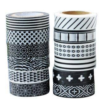 12 Rolls Black and White Decorative Washi Masking Tape for LabelNotebook DIY Decoration Random Styles 1.5cm Width 10m Length - intl