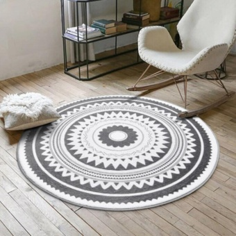 120*120cm Nordic Style Round Floor Mat Carpet Computer Chair Mat 3DCactus Flamingo Print Anti-slip Tea Table Mats Sofa Rugs LargeCarpets Kids Room Decorative Soft Bedside Footcloth - intl