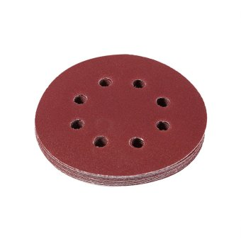 125mm Round Shape Red Grinding Discs 8 Hole Grit Sand Papers(120#)- intl