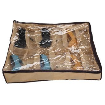 12Pairs Shoes Organizer Holder Under Bed Closet Storage Fabric Bag