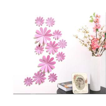 12Pcs 3D Flowers PVC DIY Vinyl Mural Wall Stickers Poster RemovableHome Decor Art Decals Window 12g