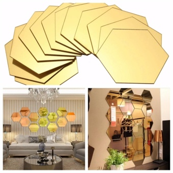 12PCS 3D Mirror Hexagon Vinyl Removable Wall Sticker Decal Home Decor Art - intl
