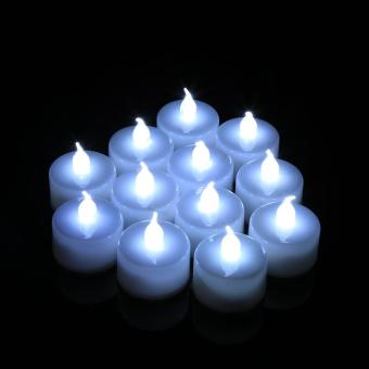 12PCS LED Flicker Flameless Light Electric Candle Cool White - intl