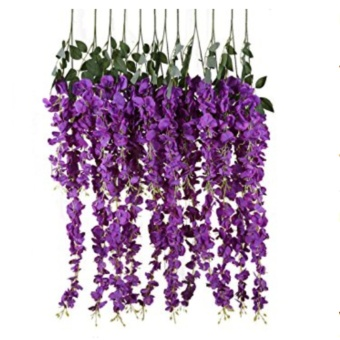 12pcs/lot Artificial Silk Wisteria Fake Garden Hanging Flower PlantVine Wedding Party Event Decor 110cm - intl