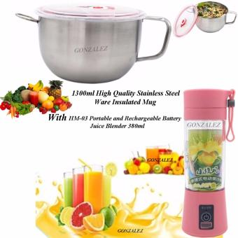 1300ml High Quality Stainless Steel Ware Insulated Mug With HM-03Portable and Rechargeable Battery Juice Blender 380ml (Pink)