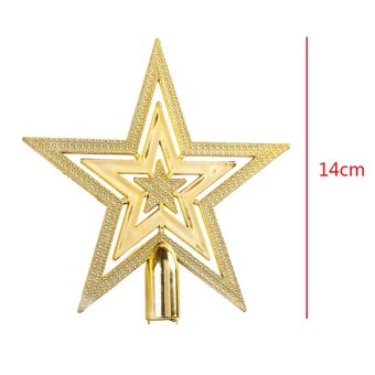 14CM Golden Glitter Star Christmas Tree Topper Ornaments Xmas Decorations - Intl - picture 2