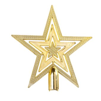 14CM Golden Glitter Star Christmas Tree Topper Ornaments Xmas Decorations - Intl