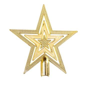 14CM Golden Glitter Star Christmas Tree Topper Ornaments Xmas Decorations - Intl