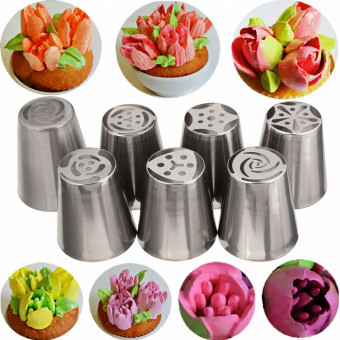 14Pcs Russian Tulip Flower Cake Icing Piping Nozzles Decorating Tips Baking Tools