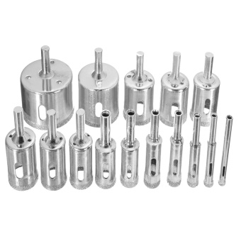 15Pcs Diamond Drill Bits Coated Core Hole Saw Set Extractor Remover Cutter Tools for Tiles Marble Glass Ceramic - intl