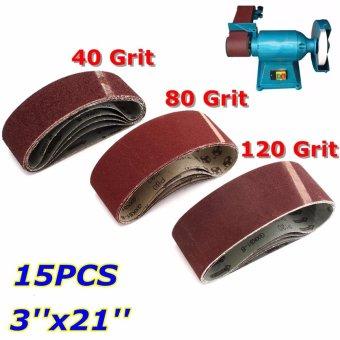 15x Mix 3'' x 21'' Sanding Belts Aluminium Oxide 40/80/120 Grits Sander Abrasive - intl - 2