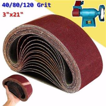 15x Mix 3'' x 21'' Sanding Belts Aluminium Oxide 40/80/120 Grits Sander Abrasive - intl - 4