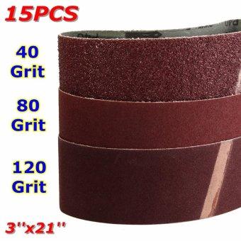 15x Mix 3'' x 21'' Sanding Belts Aluminium Oxide 40/80/120 Grits Sander Abrasive - intl - 3