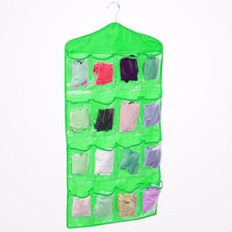 16 Grid Underwear Socks Ties Hanging Storage Bag Organizer (Green)