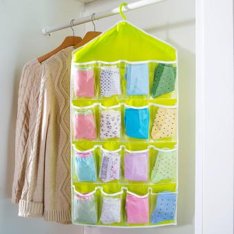 16 Pocket Clear Hanging Closet Organizer (Green)