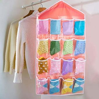 16 Pocket Clear Hanging Closet Organizer (Pink)