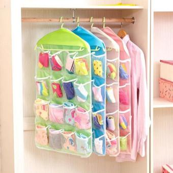 16 Pocket Underwear Hanging Foldable Organizer(GREEN)