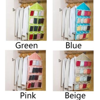 16 Pockets Door Wardrobe Hanging Bag DIY Rack Hanger StorageOrganizer (Beige) - 4