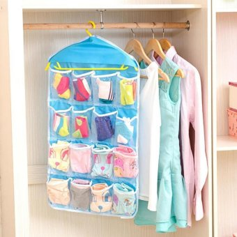 16 Pockets Door Wardrobe Hanging Bag DIY Rack Hanger StorageOrganizer (Blue)