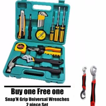 16pcs Professional Hardware Tools Set Accessory Repair HomeTool-Box Kits Case KS8016 with free Snap 'N Grip Universal Wrenches2-piece Set Snap 'N Grip Universal Wrenches 2-piece Set