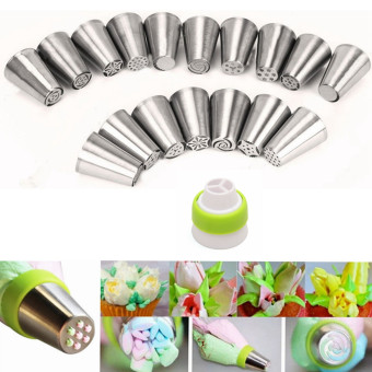 17Pcs Russian Tulip Flower Icing Piping Nozzles Cake Decoration Tips Baking Tools - intl