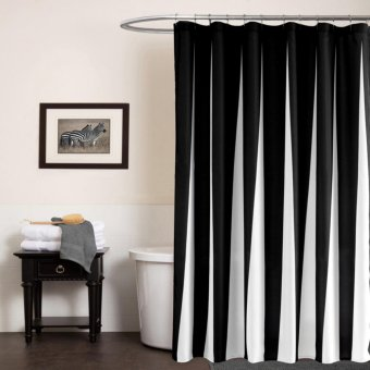 183X183cm Shower Curtains for Bathroom Printed Solid Black WhiteColor Fabric 100%Polyester - intl