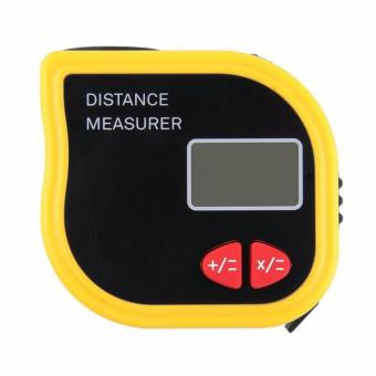 18M Mini Ultrasonic Digital Tape Measure Laser Range FinderDistance Meter Laser Pointer Rangefinder Level Tool Measurer AreaYellow - intl