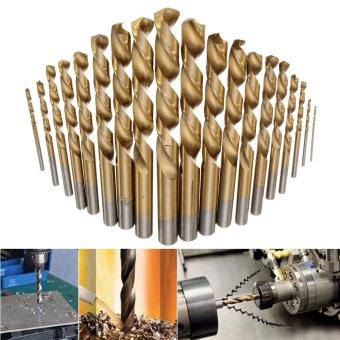 19pcs/set Manual Twist Drill Bits Titanium Coated HSS Drill Bit Tool Kit of 1mm - 10mm - intl