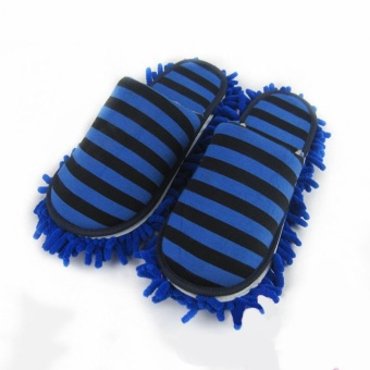 1Pair Floor Cleaning Slippers Detachable Floor Wipe StripedChenille Lazy Shoes Cover Home Cleaning Mop Dust Cleaner Slippers -intl