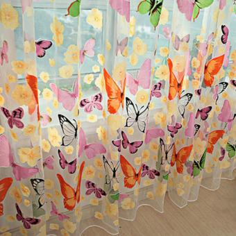 1pc Colorful Butterfly Printing Curtain Organdy Panel - 3