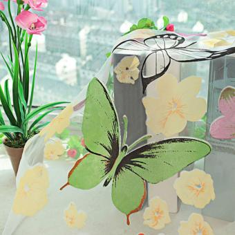 1pc Colorful Butterfly Printing Curtain Organdy Panel - 4