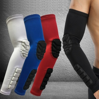 1Pcs Black Elastic Gym Sports Long Arm Sleeve Support BasketballShooting Honeycomb Sport Elbow Arm Warmers Pad for Cycling CampingIntXL - intl