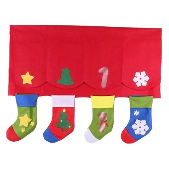 1Set (Up and Down ) Christmas Decorative Door Window Cute ChristmasStocking Socks Curtains for Living Room WA795 T10 - intl - 3