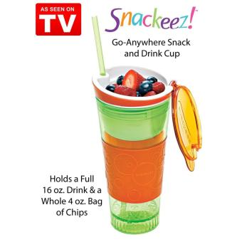 2 in 1 Snackeez Plastic Snack and Drink Cup (Green/Orange) - 2