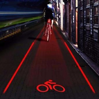 2 Laser+5 LED Rear Bike Bicycle Tail Light Beam Safety Warning Red Lamp .