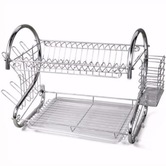 2 Layer Dish Drainer / Kitchen Rack with Mini Portable Fan (Color May Vary) - 2