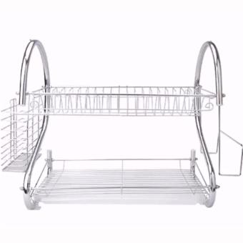 2 Layer Dish Drainer / Kitchen Rack with Mini Portable Fan (Color May Vary) - 4