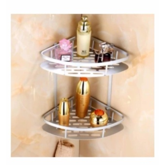 2 Layer Shower Bathroom Corner Shelves Storage Organizer