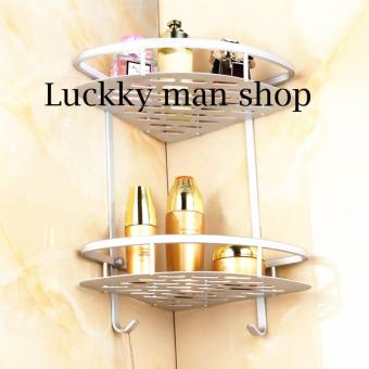 2 Layers - Aluminum Bathroom Shelf Triangle Basket Wall Mounted,Bathroom Toilet Basket Single Corner Rack Shelf