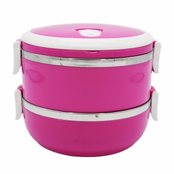 2 Layers Elegance Insulation Lunch Box with White Handle(Pink)