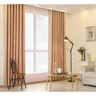 2 PCS 150x250 Plain dyed bedroom blackout window curtain - intl