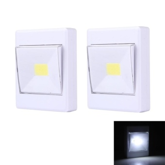 2 PCS Mini White Light COB LED Switch Wall Light Night Light Lamp Closet Light - intl