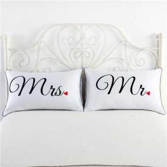 2 Pcs/set Couples Pillow Cases Anniversary Wedding Gifts style:mrmrs - intl
